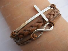 Karma-God's blessing bracelet,infinity bracelet,cross bracelet,braid leather bracelet-Z486. $6.99, via Etsy.