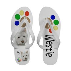 Cute Westie Dog Paw Art Flip Flops