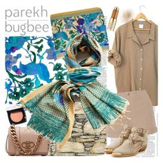 """""""Parekh Bugbee"""" by gaby-mil ❤ liked on Polyvore featuring Chanel, Emilio Pucci, NLST, Balmain, Estée Lauder, silk, designer, Cotton, shawl and parekhbugbee"""