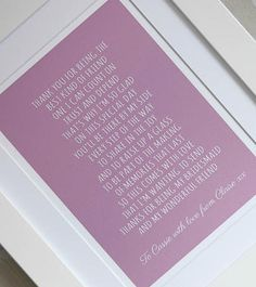 Thank You For Being My Bridesmaid ~ Personalised Poem Print ~ Bridesmaid Gift