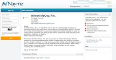 We are passionate about handling work matters because we know our work is impactful. http://www.naymz.com/institution/wilson/mccoy%2C/p.a./663384