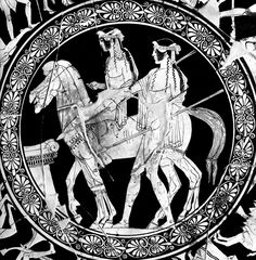 The #Dioscuri (Castor and Pollux). Attic #red_figure #kylix by the #Penthesilea_Painter, c. 450 BCE.