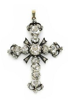 An Antique Rose-cut Diamond Cross Pendant, 19th Century. Via FD Gallery, www.fd-inspired.com