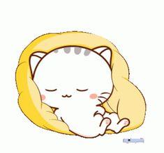 Cute Bunny Cartoon, Cute Kawaii Animals, Cute Cartoon Pictures, Cute Love Pictures, Cute Love Cartoons, Chibi Cat, Cute Chibi, Cute Love Gif, Cute Cat Gif