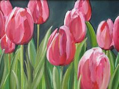 """Pink Tulips - Original Oil Painting - 11""""x14"""" - Green - Pink - Girl's Room - Sun Room - Spring - Grey - Floral - Flowers. $100.00, via Etsy."""