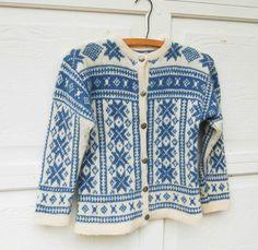 Vintage Snowflake Scandinavian Wool Child's Handmade Sweater Blue White Norwegian Ski
