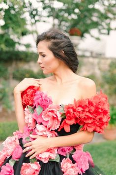 Pink and Coral Peonies on a Black Gown | Newbury Photographs | Greenhouse Shoot with a Floral Wedding Dress