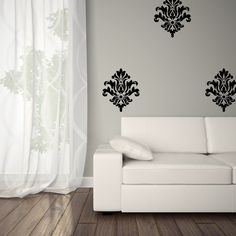 Vinyl Damask Decals   Classy decals for any wall. Easy to apply and no background or glue mess like wall paper.