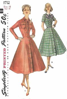 Vintage 1950's Sewing Pattern Princess Rockabilly Dress Detachable Collar B 38""