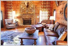 Log Cabin Living Room - Before and After Photos