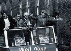 Steve Heighway, Emlyn Hughes, Bob Paisley, Bill Shankly and Kevin Keegan parade the FA Cup.