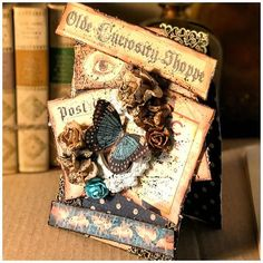 """Do you love butterflies as much as we do? """"The idea of this card came out because I wanted to send to a friend who lives so far from me. How can a card fly so far from my home without wings? of course with a magical light blue butterfly on it!"""" ~ @nicoscrap  #uniquepapercrafting #oldecuriosityshoppe #graphic45 #cardmaking #tutorial"""