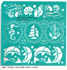"Stencil Stencils Template ""SeaWorld"" 6 inch/15 cm, self-adhesive, flexible, for polymer clay, fabric, wood, glass, card making"