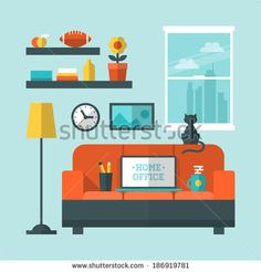 Flat design vector illustration of modern home office interior with sofa and laptop - stock vector