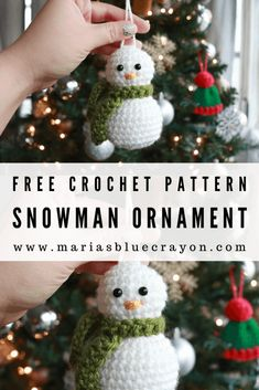 Crochet Snowman Ornament Pattern - - Cute, easy, and simple! Crochet this snowman ornament for your tree with this free crochet pattern. Crochet Ornament Patterns, Crochet Ornaments, Snowman Ornaments, Crochet Crafts, Crochet Projects, Crochet Ideas, Free Christmas Crochet Patterns, Snowman Patterns, Beaded Crafts