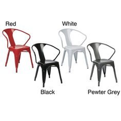 Vintage French-Industrial Modern Style Galvanized Sheet Metal Café & Bistro Arm Chair (4 Pack) | Overstock.com Shopping - The Best Prices on Office Star Products Stacking Chairs