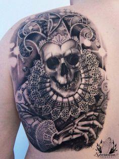 Skull Clown by Speranza Tatuaggi Aztec Tattoo Designs, Skull Tattoo Design, Skeleton Tattoos, Skull Tattoos, Dad Tattoos, Cool Tattoos, Tatoos, Jester Tattoo, Austin Tattoo