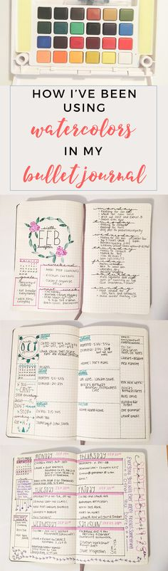 Bullet Journal Water Color Spreads