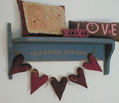 primitive valentine decor primitive heart garland five primitive cloth hearts tied together with