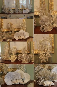 Creative DIY Faux Coral Collection - Made with the help of floral items from Hobby Lobby, cans of texture paint and Great Stuff spray foam. by fannie Seaside Decor, Coastal Decor, Diy Home Decor, Under The Sea Theme, Under The Sea Party, Seashell Crafts, Beach Crafts, Hawaii Crafts, Spray Foam