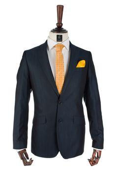 Costum barbati albastru cu dungi fine Grazie Filipeti #magazindefashion