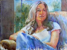 Kim Johnson WATERCOLOR Watercolor Portraits, Watercolour, Painting People, Inspirational Artwork, Contemporary Art, Figurative, Windows, Illustrations, Doors
