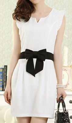 Bowknot Chiffon Sleeveless White Dress
