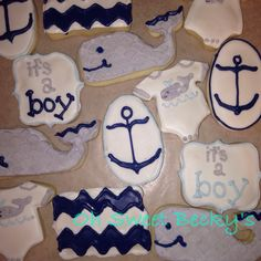 Baby shower cookies Whale cookies