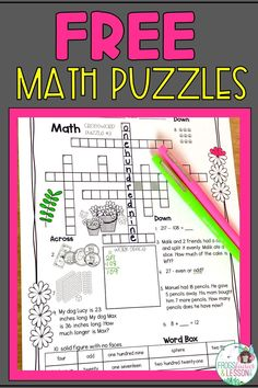 My Free Math Crossword Puzzles are a great way to review Math concepts throughout the year! Add them to your Math Centers, Morning Work, or to your Math Daily Review, for hours of engaging activities! Kindergarten Math Activities, Teaching Math, Teaching Resources, Teaching Ideas, 2nd Grade Teacher, 3rd Grade Math, Second Grade, Crossword Puzzles, Maths Puzzles