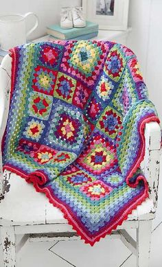 Stunning Granny Squares Blanket In Vibrant Colors