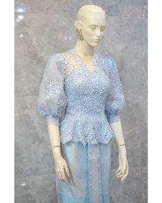 Model Kebaya Brokat Modern, Dress Brokat Modern, Kebaya Modern Dress, Kebaya Wedding, Muslimah Wedding Dress, Kebaya Lace, Kebaya Dress, Traditional Dresses Designs, Myanmar Dress Design