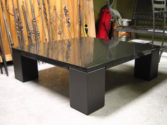 Forza Metal | Residential  Modern steel & granite coffee table 4'X4'  www.forzametal.com Custom Design, Furniture Design, Vogue, Desk, Metal, Modern, Table, Home Decor, Desktop