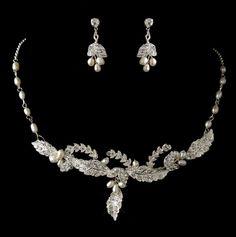 Ivory Freshwater Pearl Rhinestone Leaf Wedding Necklace Earrings Bridal Set