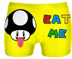 Eat me! Naughty yellow boyshorts for girls :) classic gaming style, nerdy design, geek underwear, mushroom vector graphic, v2 - for more art and design be sure to visit www.casemiroarts.com, item printed by RageOn at www.rageon.com/a/users/casemiroarts - also available at www.casemiroarts.com - This product is hand made and made on-demand. Expect delivery (aproximate time frames) to US in 11-23 business days (international 14-33 business days). #boxers #clothing #style #underwear