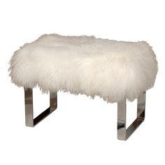 b5b7dfbc29 Curly Lamb Chrome Bench Modern Ottoman
