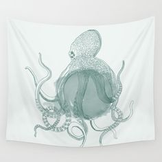Octopus Wall Tapestry by All Is One #tapestry #wallart #illustration #decor #home #room #octopus #seacreature #oce  Available in three distinct sizes, our Wall Tapestries are made of 100% lightweight polyester with hand-sewn finished edges. Featuring vivid colors and crisp lines, these highly unique and versatile tapestries are durable enough for both indoor and outdoor use. Machine washable for outdoor enthusiasts, with cold water on gentle cycle using mild detergent - tumble dry with low…
