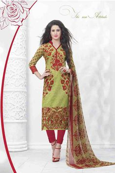 Olive,Red &  MultiColor Lawn Cotton UnStitched Straight Suit With Chiffon Dupatta