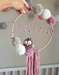 Personalized Dream Catcher with Name Bommeln Amigurumi Owl Elephant Nursery Birthday Babyshower Gifts for Birth Gift Idea - DIY Blumen Diy Crafts Hacks, Diy Arts And Crafts, Diy Projects, Dream Catcher Craft, Fleurs Diy, Baby Room Diy, Pom Pom Crafts, Baby Decor, Handmade Shop