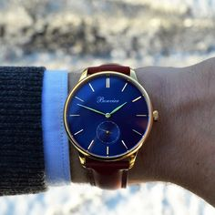 Navona Blue/G (41 mm) on the wrist. Free shipping worldwide - www.bonvier.com #bonvier #watches #orologi