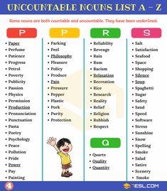 Uncountable Nouns: List of 450 Useful Uncountable Nouns - 7 E S L The Giver, English Sentences, English Grammar, Uncountable Nouns, Money Magic, Esl Lesson Plans, English Resources, English Language Learning, Idioms