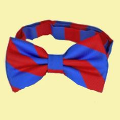 Scarlet Red Royal Blue Stripes Formal Groomsmen Groom Wedding Mens Neck Bow Tie