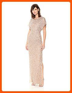 Adrianna Papell Women's Long Beaded Dress Flutter Slv, Antique/Bronze, 16 - All about women (*Amazon Partner-Link)