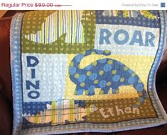 SALE Dinosaur Baby Quilt Made To Order Blue Green by aQuiltforBaby, $89.10