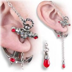 Amazon.com: Anchors Away - Two Part Anchor Earring with Over-Ear Chain Fastening & Set with Swarovski Crystals - Sold Individually: Jewelry $34.95