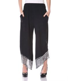 Love this Black & White Sheer-Hem Gaucho Pants - Plus by Aster on #zulily! #zulilyfinds