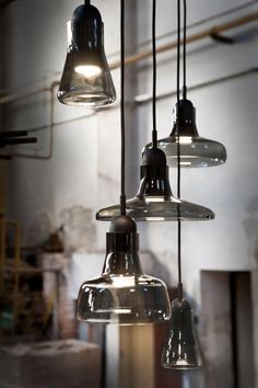 Interior - Brokis lights - Smoke Grey Shadows are hanging lights. The designer Lucie Koldova and Dan Yeffet.