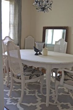 My newest Cottage Creation! Vintage Drexel Heritage french provincial dining room table and chairs. I took it from drab gold/yellow with mauve upholstery to cottage chic! For sale here in Greenville, SC. Contact me for details!