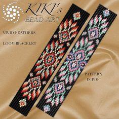 Bead loom pattern - Vivid feathers ethnic inspired LOOM bracelet pattern in PDF - instant download