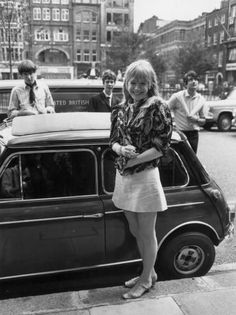 """isabelcostasixties: """"Marianne Faithfull Appeal hearing at the Appeal Court in Central London where Rolling Stones lead singer Mick Jagger and Keith Richards had their convictions and sentence for drug. Classic Mini, Mini Cooper Classic, Classic Cars British, Mini Morris, Rover Mini Cooper, Mini Cooper S, John Cooper, Jean Muir, Marianne Faithfull"""