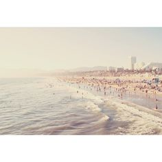 Los Angeles photography, Santa Monica beach photo, pale icy blue foamy... ($185) ❤ liked on Polyvore featuring backgrounds